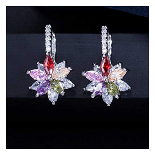 ZAIZAI Pendientes de tuerca de circonitas, fáciles de llevar, con flores geométricas milticolor, para mujer, joyería de moda (color: 2)