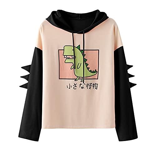 Pianshanzi Hoodies - Sudadera con capucha para adolescentes y niñas con estampado de patchwork, de manga larga, con capucha, Un negro., XXL