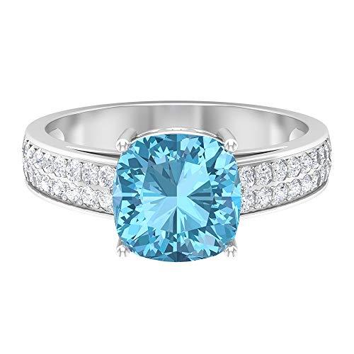 Anillo de aguamarina y moissanita 2,95 quilates, anillo solitario con piedras laterales, anillo de compromiso de oro (8,5 mm corte cojín aguamarina), 14K Oro blanco, aguamarina, Size:EU 61