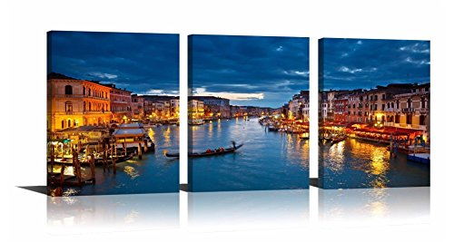 YPY Oil Paintings Venice Nightscape Modern Cityscape Boats on The River Wall Art Decoration Print on Canvas for Living Room Office Kitchen Ready to Hang 12x16x3pcs