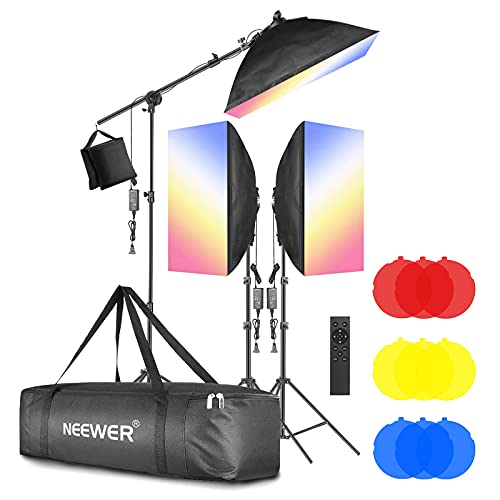 """Neewer 3-Pack 2.4G LED Softbox Lighting Kit with Color Filter: 20""""x28"""" Softbox, 3200-5600K 48W Dimmable LED Light Head with 2.4G Remote, Light Stand, Boom Arm, Bag for Photo Studio Video Shooting"""