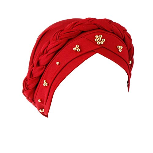 Vobony Turbante - Gorro de mujer elástico musulmán turbante, gorro de noche, gorro para chemio la pérdida de cabello Vino Rosso Talla única