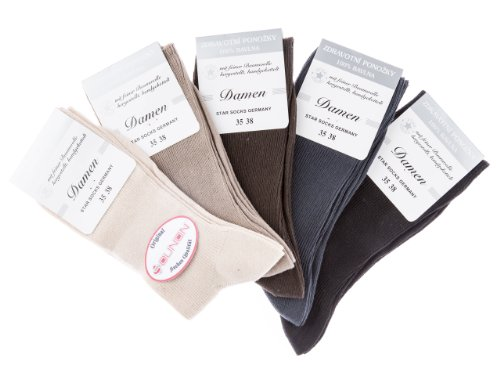SOUNON 10 Paar Damen Socken ohne Gummi (100prozent Baumwolle) Mehrfarbig, Groesse: 39-42