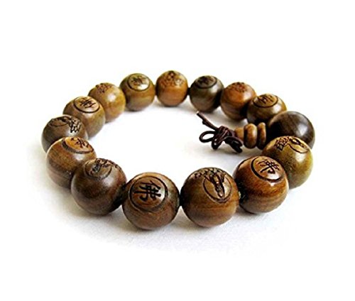DMtse 15mm Large Beads Traditional Tibetan Buddhist Green Sandalwood Beads Bracelet Prayer Mala Bracelet for Men/Women …