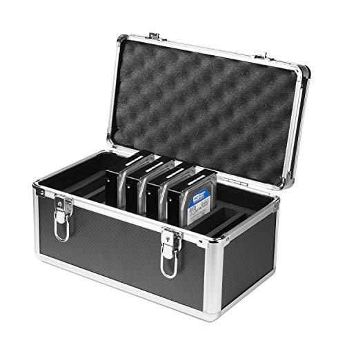 Salcar Festplatten Schutzkoffer 10-Festplattenlaufwerke (3,5 Zoll) Schutz- und Transportkoffer aus Aluminium mit Schaumstoff Schutzgehäuse