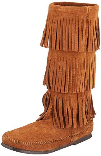 Minnetonka Women's 3-Layer Fringe Boot,Brown,9 M US