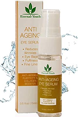 Eye Serum for lines and wrinkles and dark circles and puffiness anti ageing Instant eye bags remover for Crows Feet Fine Lines Collagen Booster from Pro-Elegance