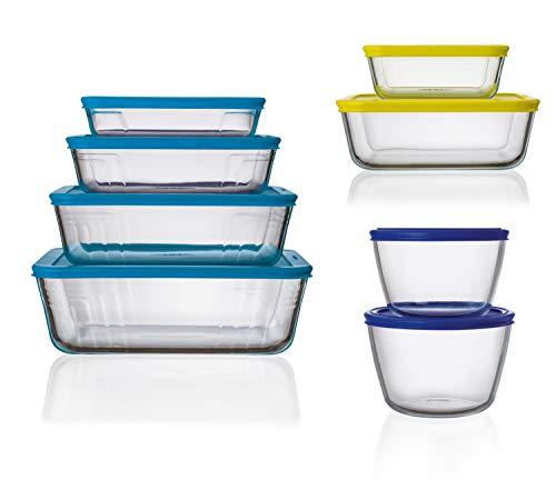 Pyrex Cook & Fresh 8 Piece Complete Storage Set with Lids - 1.1L & 1.6L Round Storage, Cobalt Lids - 0.85L & 2L Square Storage, Yellow Lids - 0.8L, 1.5L, 2.6L & 4L Rectangular Storage, Mid Blue Lids