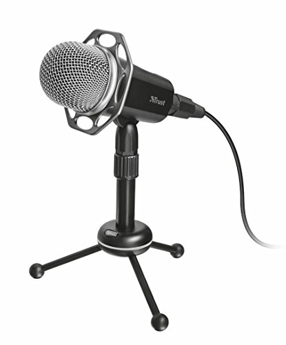 Trust Radi - Micrófono con prestaciones de Estudio (dotado de trípode, Conexiones de 3,5 mm, USB), Color Negro