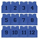 Athllete DURAMESH Set of 12- Scrimmage Vest/Pinnies/Team Practice Jerseys with Free Carry Bag. Sizes for Children, Youth, Adult and Adult XXL (Azure Blue Numbered, Medium)