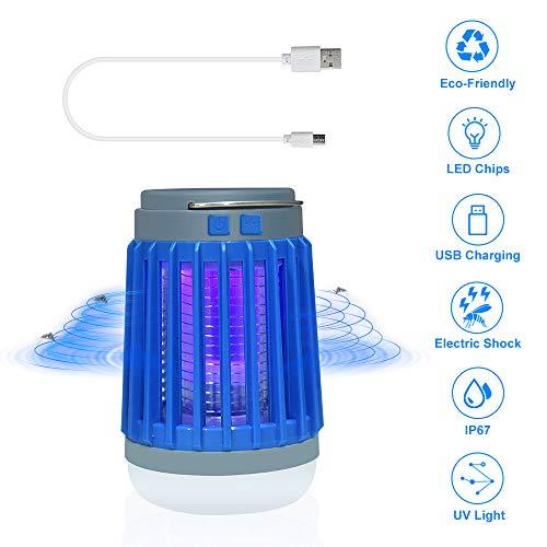 Bonlux LED Campinglampe UV Licht 3 in 1 Insektenvernichter Mückenkiller Lampe IP67 Camping Lantern Anti-Moskito Tragbare Taschenlampe USB/Solar Wiederaufladbar Zeltlampe für Innen- und Außenbereich