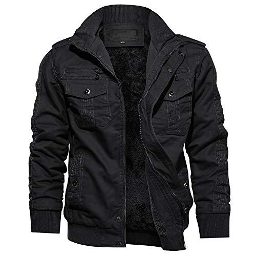 TACVASEN Men's Jacket-Fleece Cotton Military Coat Thicken Cargo Jacket Outwear,Black L