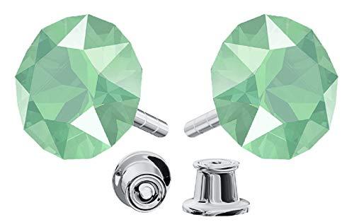 Pendientes de plata de ley 925 con cristales de Swarovski Xirius - Mint Green - Pendientes para mujer - Bonita joya para mujer con caja de regalo
