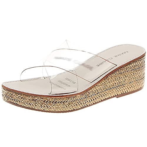 Womens Clear Strap Edge Sandals Summer Platform Shoes Casual Comfort Trasparente Cintura Mules Casual Viaggi Scarpe da Viaggio,off White,36EU