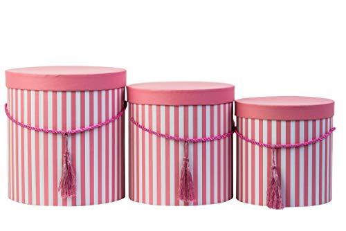 Juego de 3redonda cajas de almacenaje con tapa en caja de cable y borla de gorro rosa caja de almacenamiento, con rayas redondo caja de flores en rosa rojo
