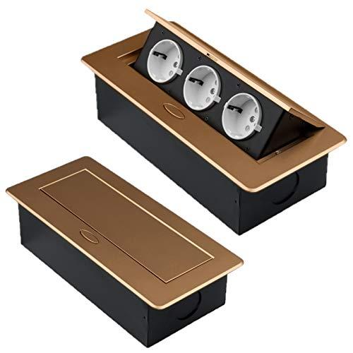 M1353 - Einbausteckdosen in verschiedenen Größen und Farben - wahlweise mit USB oder Internetanschluss (3er / gold)