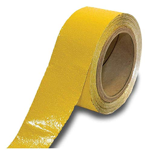 ifloortape Yellow Reflective Foil Outdoor Pavement Marking Tape | Conforms to Rough or Smooth Asphalt and Concrete Surfaces (2 Inches x 50 Feet per Roll)