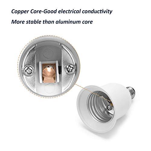 JACKYLED E12 to E26 Adapter E12 Light Socket to Medium Base E26 E27 Converter Light Socket Adapter Chandelier Socket E12 Light Bulb Adapter Pack of 2
