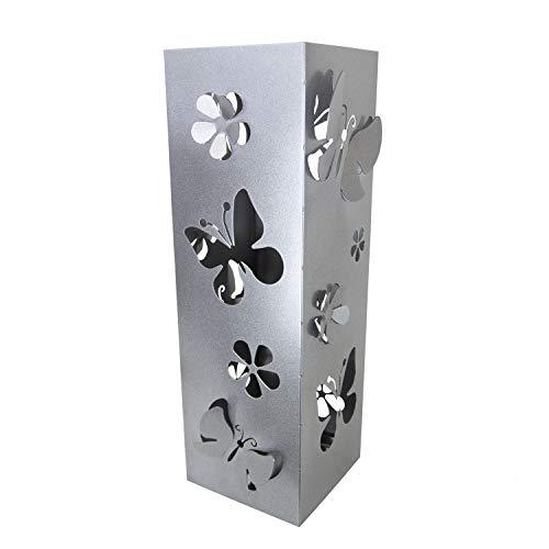 CAI & ZAI Umbrella Stand Butterflies Square mit herausnehmbarem Tablett - Grau - Abmessungen 15x15x47 cm- Made in Italy- Modernes Design- Geeignet für den Innen- und Außenbereich