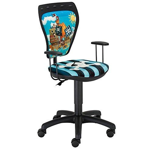 NOWY STYL Drehstuhl Pirat Schreibtischstuhl Kinderzimmer Kinder Jungen Ministyle Piraten mit Armlehnen