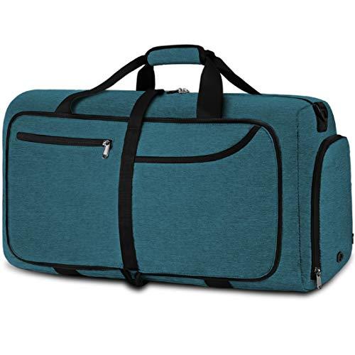 NEWHEY Bolsa de Viaje 40L 65L Plegable Ligera Bolsa Deporte Hombre Impermeable Bolsa Fin de Semana con Compartimento Zapatos para Mujeres (Azul claro-65L)