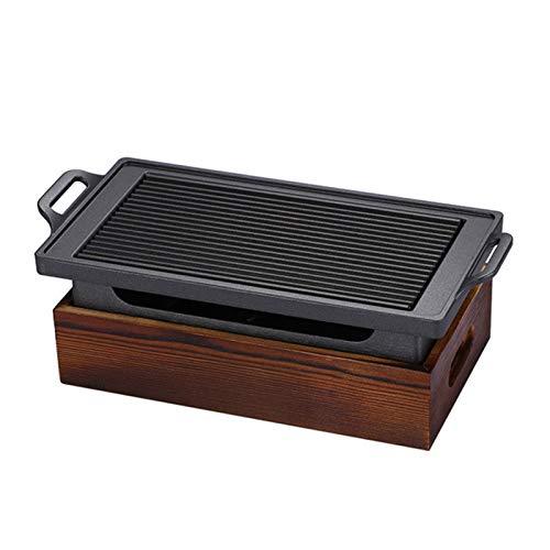 Parrilla para barbacoa Tablero japonés coreano BBQ Grill Portable Barbacoa Estufa Charcoal Grill con base de madera Herramientas de cocción antiadherente para el hogar para exteriores o en interiores