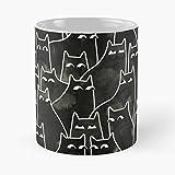 Taza de café de cerámica con diseño de animales blancos y amantes de los gatos, de 315 ml, con diseño de gatito, color negro
