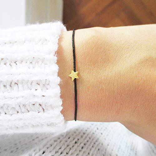 Armband mit Sternchen 925er Silber vergoldet Individualisierbar | Sternenkind Sternenmama | Schwarz