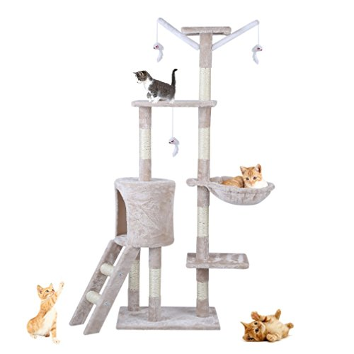 Blackpoolaluk Cat Kitten Scratching Post Tree with Rope and Hammock Scratches Bed Tree Climbing Toy Activity Center Pets Play Tower House Home Decorative Fuiniture (93Cm)