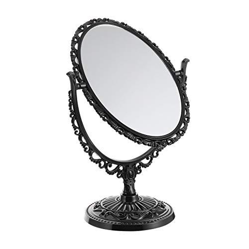 FRCOLOR Espejo de Maquillaje de Escritorio Vintage Espejo de Tocador Ovalado de Pie Espejo Decorativo de Doble Cara Giratorio Espejo Retro Antiguo Decoración ()