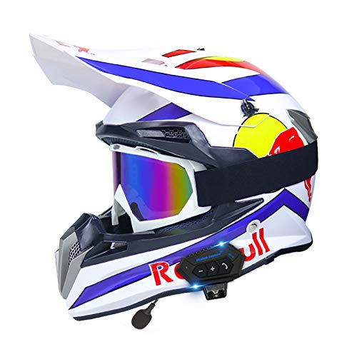 HZIH Casco Motocross,Casco de Cross Casco Integral Moto Protección Cabeza Cascos con Auriculares Bluetooth,ECE Homologado Off-Road Enduro Downhill Racing Casco...