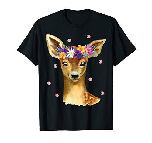 Baby Reh Rehkitz Blumen Konfetti Tierliebhaber Waldtier T-Shirt