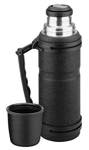 Isosteel VA-X212BK, X2 1,2 Liter Quickstop Vakuum-Isolierflasche, Schwarze Pulverbeschichtung, 18/8 Edelstahl, BPA & LFGB geprüft
