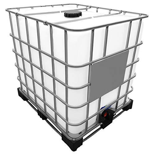 1000l IBC Wassertank auf Stahl/PE-Palette REBOTTLED Deckelgröße DN 150, Armaturgröße S60x6 Grobgewinde