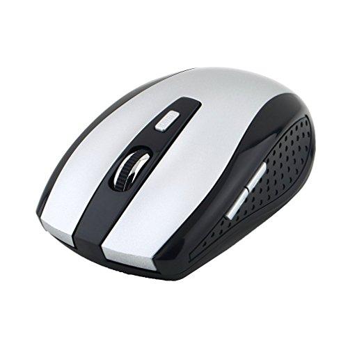 bansd Ratón óptico inalámbrico de 2,4 GHz con Receptor USB para PC portátil Nuevo Plateado