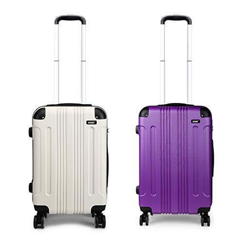 Kono Luggage Set of 2 Hard ABS Suitcase Lightweight Carry-on Travel Trolley with Four 360° Wheels (Beige+Purple)