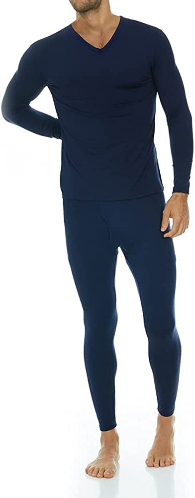 Thermajohn Mens Ultra Soft V-Neck Thermal Underwear with Fleece Lined Long Johns Set