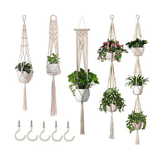 Makramee Blumenampel 5er Set, Boho Deko Hängeampel Blumentopf Hängend Pflanzen Halter Hängepflanze Wanddeko