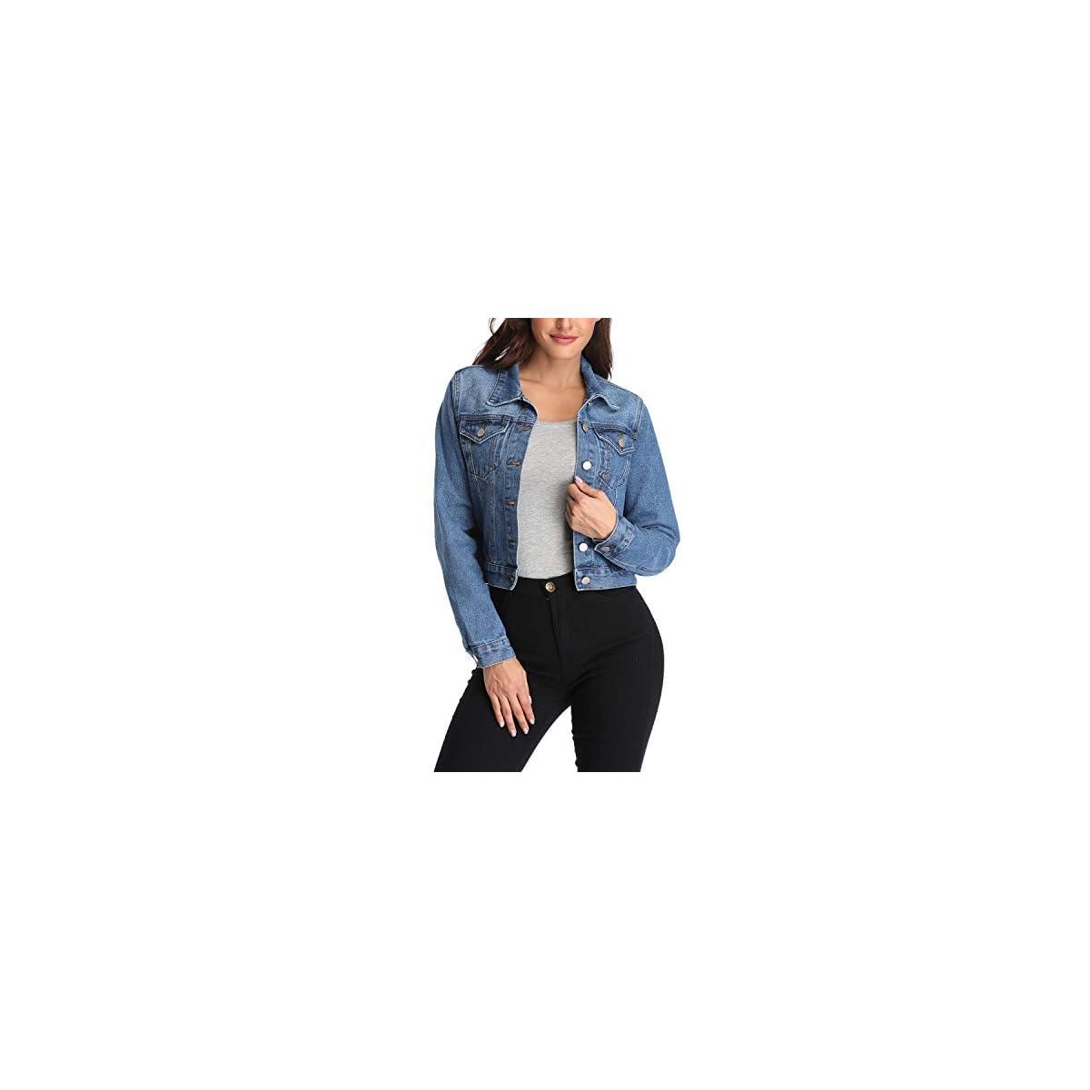 andy & natalie Damen Jeansjacke mit 2 Seitentaschen Blau