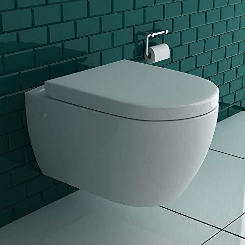 Wandhängendes WC mit Hygienedusche + Abnehmbarer WC-Sitz D-Form inkl. Absenkautomatik | 2 in 1 BIDET & WC | Taharet WC ästetische & platzsparende Ausführung | passend zu GEBERIT