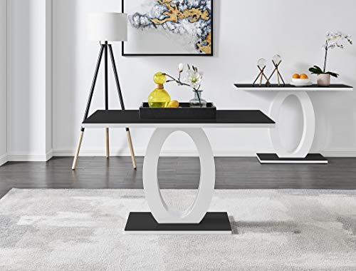 Furniturebox UK Giovani Black/White High Gloss Glass Dining Table Set and 4 Chairs Seats (Dining Table Only)