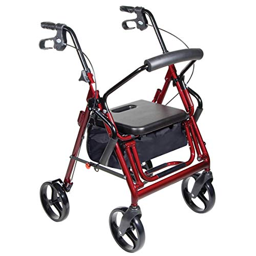 Transport Chair and Rollator in 1 XL, Burgundy