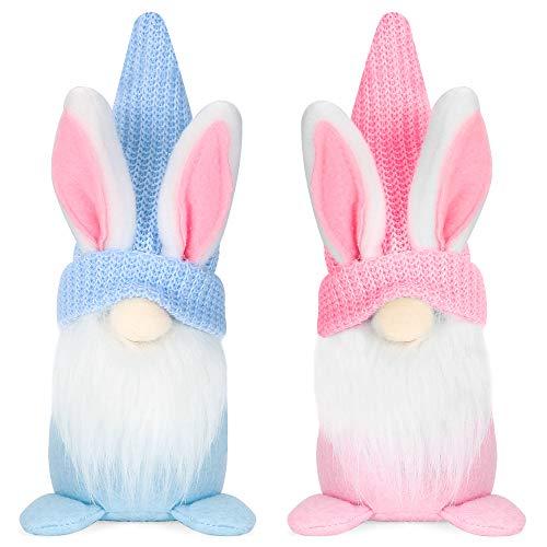 Bluelves Ostern Wichtel Hasen Ohren Puppen Set,Blau und Rosa Plüsch Zwerge Puppen Ostern Tischdekoration,für Kinder Ostern Festliche Geschenk,Wohnzimmer Desktop Osterdekoration