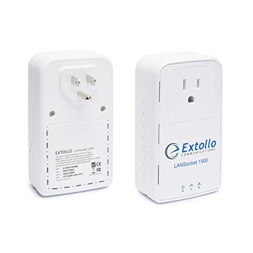 Extollo Gigabit Ethernet Powerline Adapter LANSocket 1500 HomePlug AV2000 MIMO Kit Adaptador y Tarjeta de Red