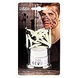 Boland 45155 - Set de maquillaje de carne descomponida, 1 vaso con polvo blanco de putrefacción, 20 gusanos blancos, 1 aplicador, maquillaje, heridas, lesiones, Halloween, carnaval, fiesta temática