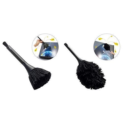 【セット買い】エレコム 除電ブラシ ほこりとり すきま用ブラシ付き 回転タイプ ブラック KBR-AM013AS &  除電ブラシ ほこりとり クリーニングブラシ ノーマルタイプ ブラック KBR-AM012AS