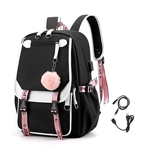KEBEIXUAN Mädchen Rucksack hat USB- und Audio-Kabel-Schnittstelle Geeignet als Schüler Schultasche Laptop Rucksack Freizeit Rucksack (Schwarz)