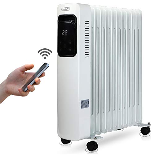 WiFi Smart App Controlled 2.5Kw 2500W 11 Fin Portable Electric Oil Filled Radiator Heater with Wheels & Adjustable Temperature Thermostat and Timer, Control your heating from anywhere! White