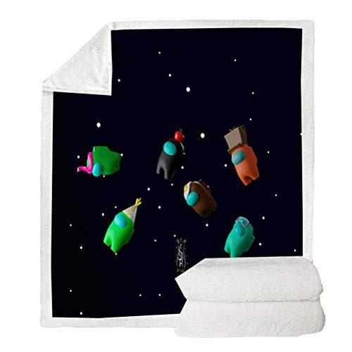 Among Us Sofadecke, Among Us Spieldecke Bettdecke Spieldecke Flanell 3D-gedruckte Decke Winterwarme Decke für Sofa Christmas Throws Decke Tagesdecke, 150x200cm