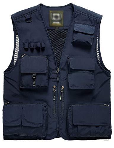 Flygo Men's Casual Lightweight Outdoor Travel Fishing Vest Jacket Multi Pockets (X-Large, Navy Blue)